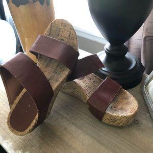 Rampage Brown Wedge Sandals